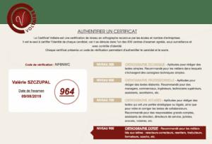 Valérie Szczupal - Certificat Voltaire 964 points