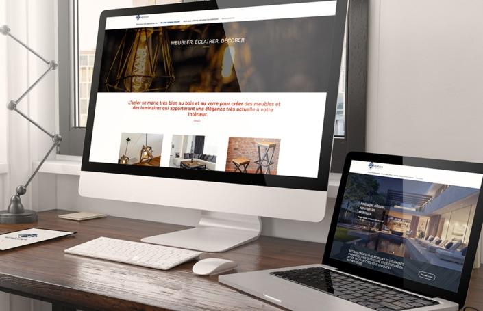 Page d'accueil site web sur écran imac