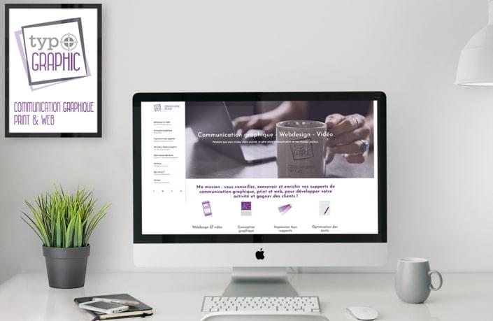 Page d'accueil du site web Typographic Communication graphique print et web