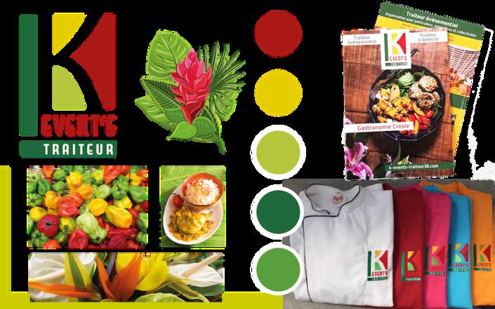 Conception graphique - Logo et couleurs de la charte graphique - Fabrication des supports de communication : flyer et vestes de cuisine